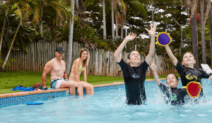 Kids playing a game in the pool