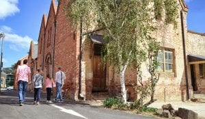 Bathurst old building with people walking