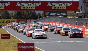 supercars racing on a track in bathurst