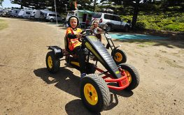 Have fun on peddle cars at NRMA Port Campbell Holiday Park, Escape2 Holiday Park, Great Ocean Road VIC