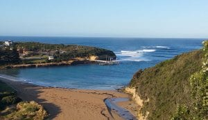 Aerial view of the beach at Port Campbell