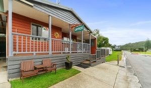 Reception for the holiday and caravan park in Port Campbell