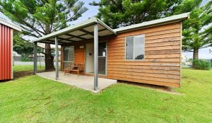 External view of cabin accommodation in Port Campbell