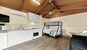 Open plan cabin accommodation in Port Campbell
