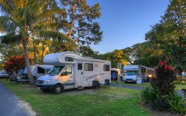 Caravan park in Cairns with motorhomes parked on sites surrounded by trees
