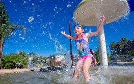 Girl playing in a waterpark in a Yarrawonga caravan park