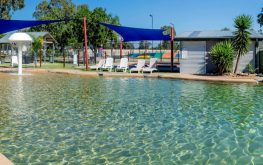 Large swimming pool in a yarrawonga holiday and caravan park