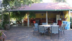 Outdoor seating area near camp kitchen in Atherton