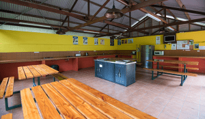 Atherton Camp kitchen with tables and cooking facilities