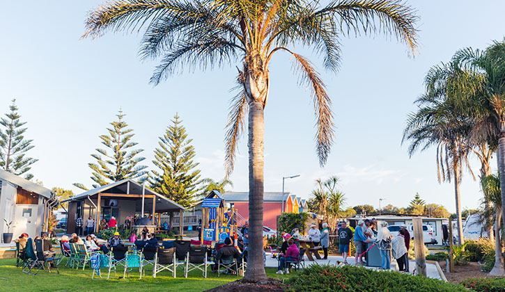 Group of people sitting in a Shallharbour caravan park